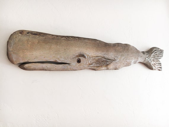 "Sale 15 % Off Driftwood 46 "" Whale Wood Fish 2d sculpture Beach Décor by SEASTYLE"