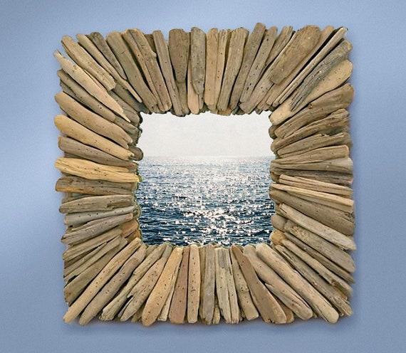 Beach Decor, Driftwood Mirror 25x25 inch Rustic Handmade by SEASTYLE