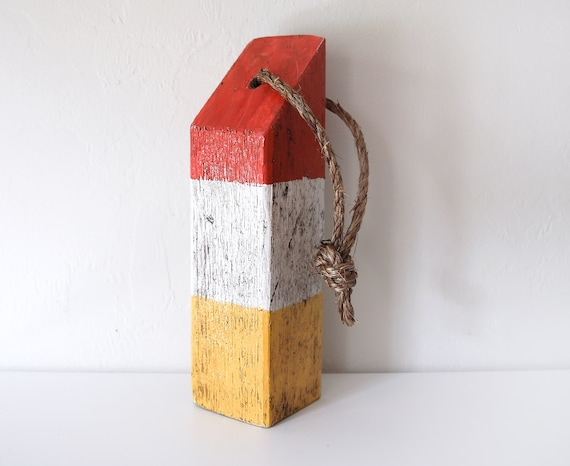 """Beach Decor, 14"""" Red White Yellow Old-style float buoy, Nautical, by SEASTYLE"""