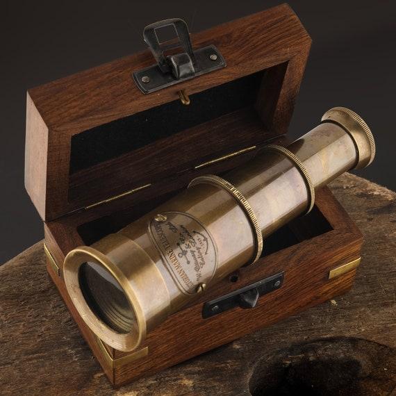 Brass Victorian Telescope Nautical Wood Box SeaStyle