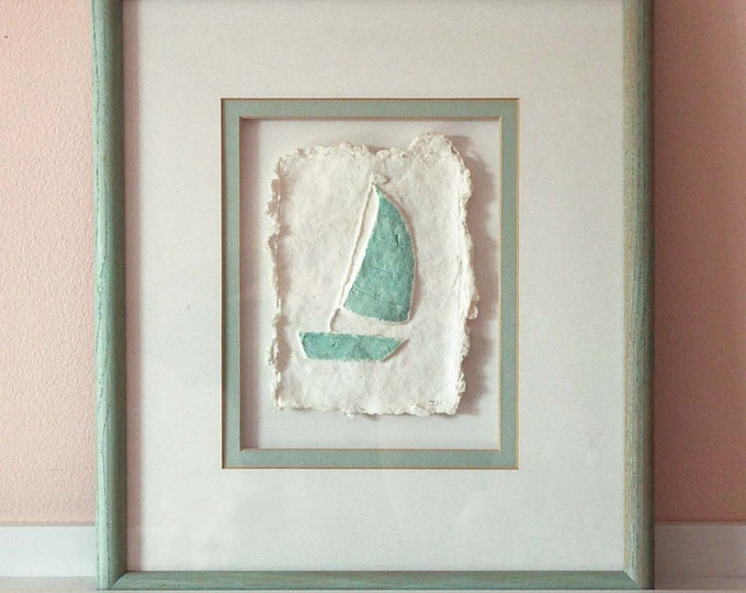 SALE, Sailboat, Hand-made paper, Beach Decor, SEASTYLE