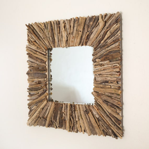Beach Decor, Driftwood Handmade Mirror 32x32inch Rustic by SEASTYLE