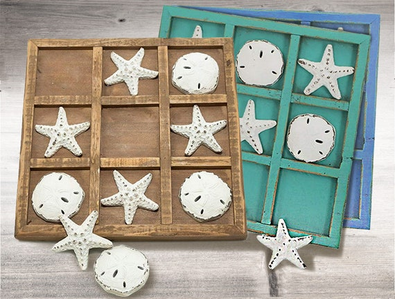 Coastal Decor GIFT IDEA Shell Tic Tac Toe  by SEASTYLE