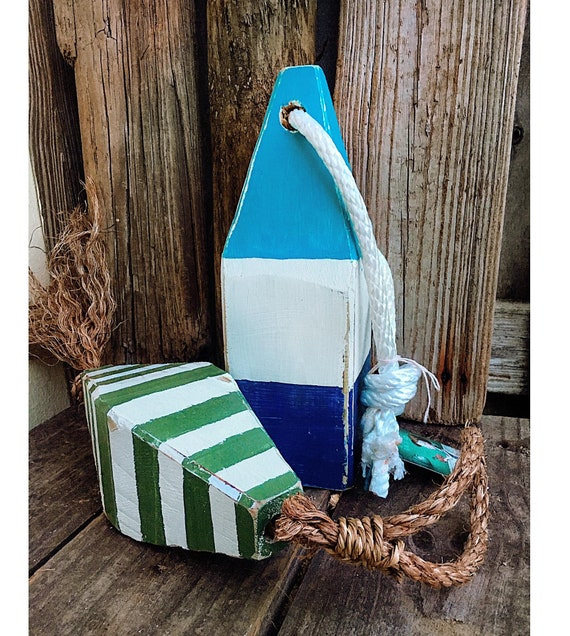 Coastal Decor Set Blue Green Lobster Buoy Nautical Wooden by SEASTYLE