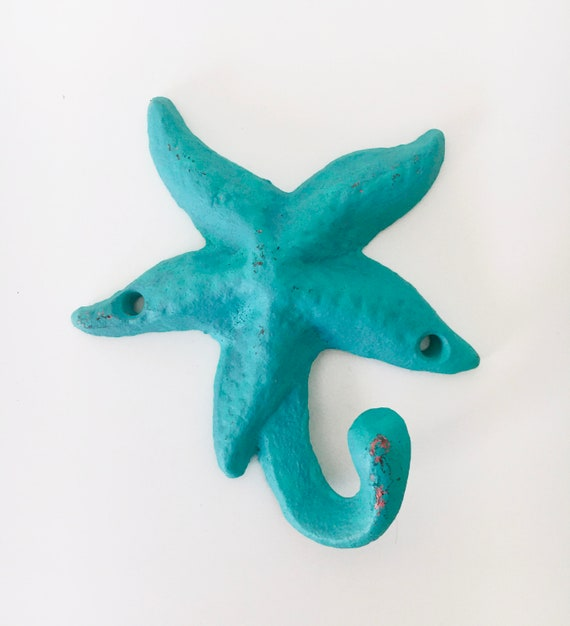 Cast Iron StarFish BLUE AQUA Wall Hook Beach Decor by SEASTYLE