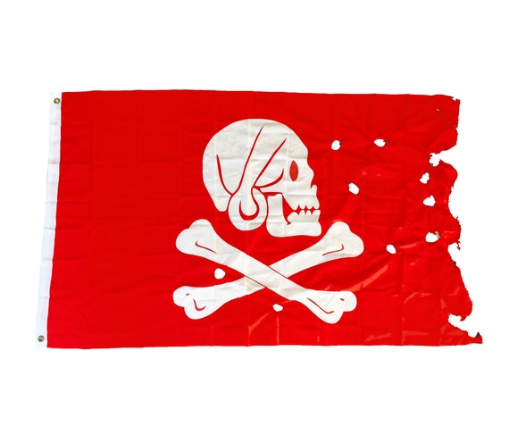 Red Pirate Flag 5x3 ft Jolly Roger 90X150cm Beach Decor  by SEASTYLE