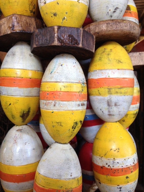 Beach Decor String of 9 Old Used Floats Buoys Vintage Yellow & Orange Nautical Wood by SEASTYLE