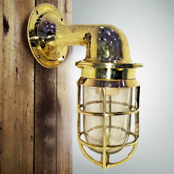 Brass Light Nautical Marine Way Wall Glass Beach Decor Vintage by SEASTYLE