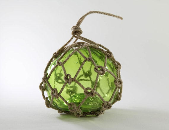 Greenish Glass Fishing Float  in Rope Netting  Beach Decor by SEASTYLE