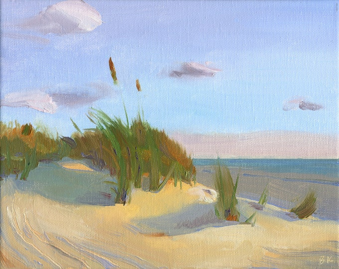 "Sale 50% off Beach Decor ""Sun, Sand, Sky "" Oil Painting by B. Kravchenko for FREE SHIPP"