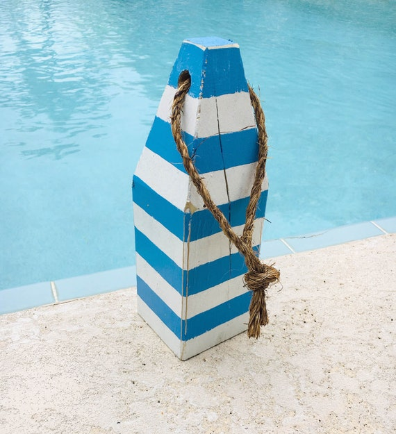 "Blue White Stripes 11"" Nautical Wooden Lobster Beach Decor Buoy SeaStyle"