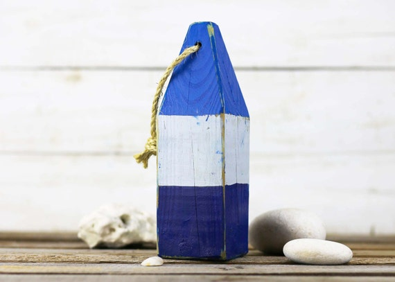 """Beach Decor, 11"""" Old-style lobster float buoy, Blue, White, Dark Blue, Vintage Style, Nautical, by SEASTYLE"""