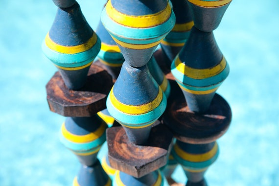 Vintage Lobster Buoy Blue Yellow Turquoise Beach Decor  Nautical Wooden by SEASTYLE