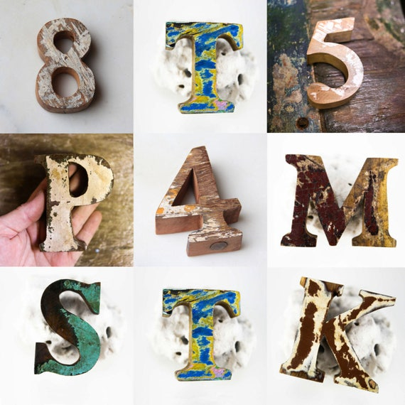 Wooden Letters Beach Decor Vintage Style Nautical by SEASTYLE