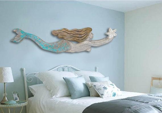 Mermaid Driftwood 60x14 in XL 2D Sculpture Beach Décor by SEASTYLE