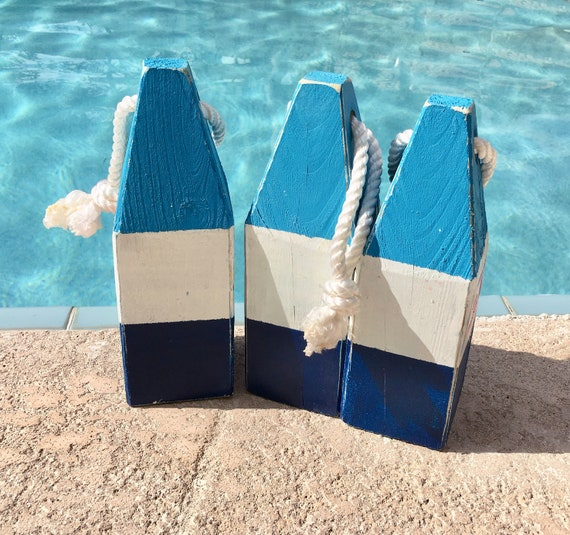"Lobster Float Buoy, 11"" Blue White Dark Blue , Vintage Style, Nautical, Beach Decor,  by SEASTYLE"