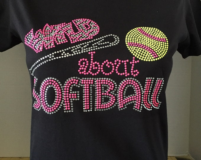 Unisex 646 softball Sports Handmade Plus Size Wild about Softball Rhinestone Crew Neck Sweatshirt Bling Bling