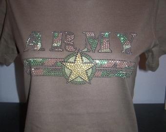 Army Bling Rhinestone T-Shirt