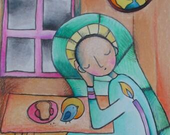 Man at Reverent Lunch - Original Drawing