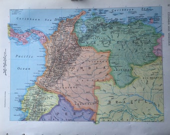 Old map of ecuador etsy vintage 1967 rand mcnally world atlas map page peru ecuador on one side and colombia venezuela on the other side gumiabroncs Image collections