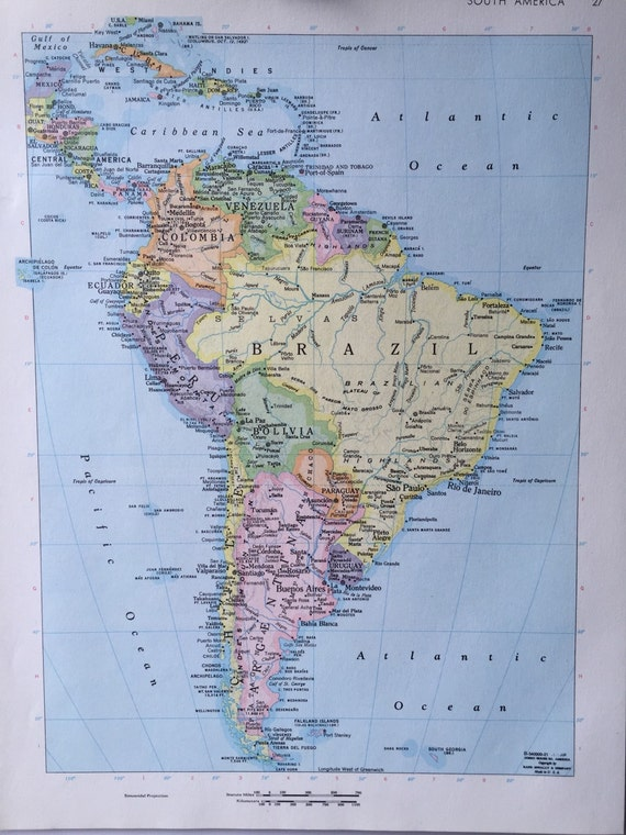 Vintage 1967 rand mcnally world atlas map page south america on one vintage 1967 rand mcnally world atlas map page south america on one side and southern argentina chile on the other side from greenbasics on etsy studio gumiabroncs Image collections