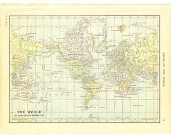 1921 Hammond's Vintage Map Pages (The World on one side and Political Map of North America on the other side)
