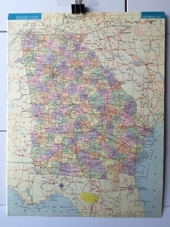 Vintage 1965 hammonds world atlas map page georgia on one side and vintage 1965 hammonds world atlas map page georgia on one side and hawaii on the other side gumiabroncs Gallery