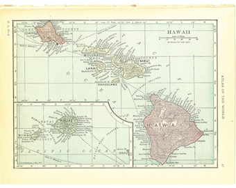 1921 Hammond's Vintage Map Pages (Hawaii on one side and Philippine Islands on the other side)