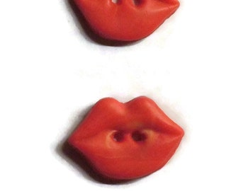 Polymer Clay Buttons Medium Size Hot Red Lips Buttons Set of Two