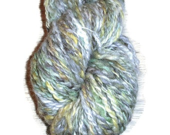 Yellow, Green, Nature Handspun, Wool Yarn Aran Weight 2-Ply. Green Yellow Thick Handspun Yarn, Aran Weight Handspun Wool Yarn  EU SELLER