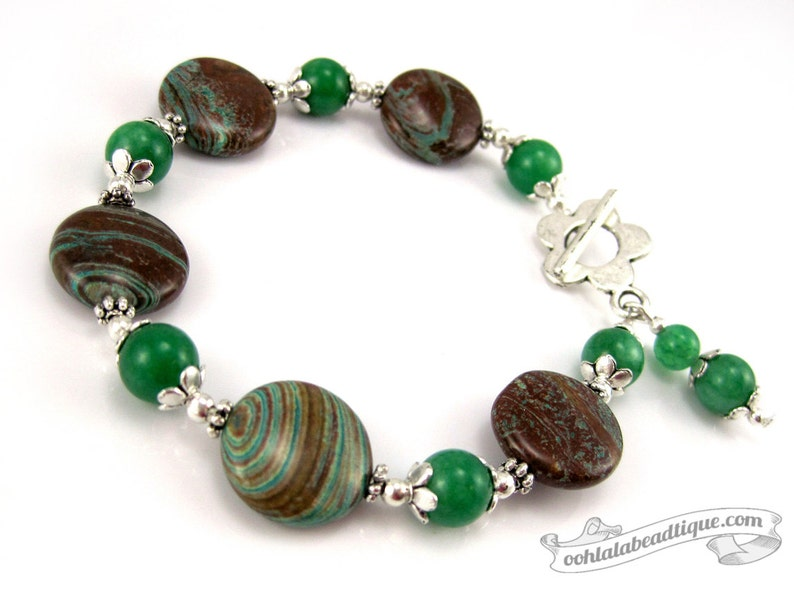 Green Stripe bracelet green bracelet nature jewelry boho image 0