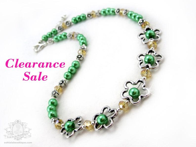 Girls green flower necklace green jewelry children's image 0