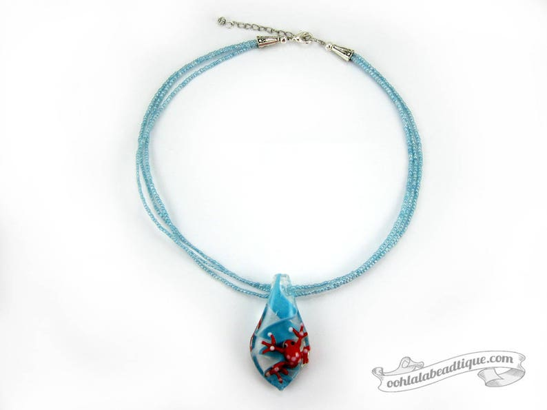 0fcc8d184df2 Rana roja collar gargantilla turquesa murano collar cristal