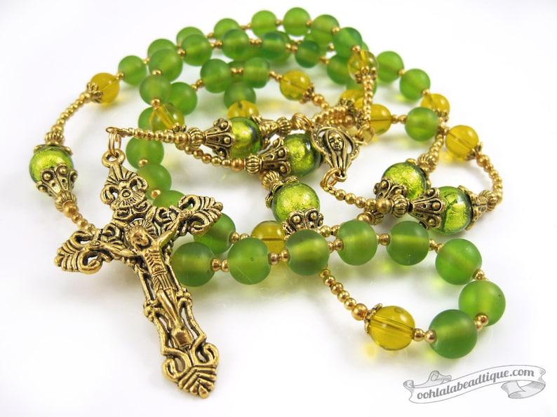 Green rosary gold rosaries confirmation rosary catholic gift image 0