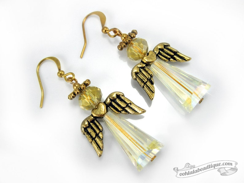 Gold Angel Earrings white crystal dangles Holiday jewelry image 0