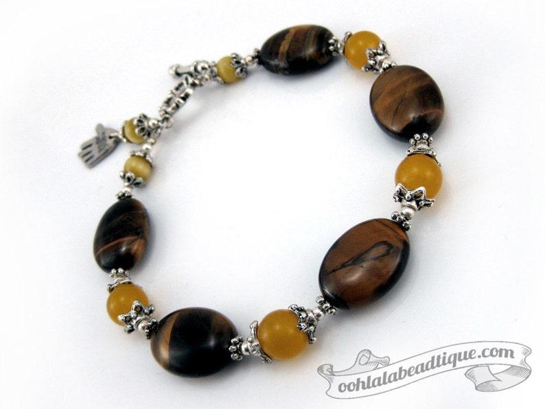 Brown Tigers Eye bracelet birthstone bracelet gemstone image 0