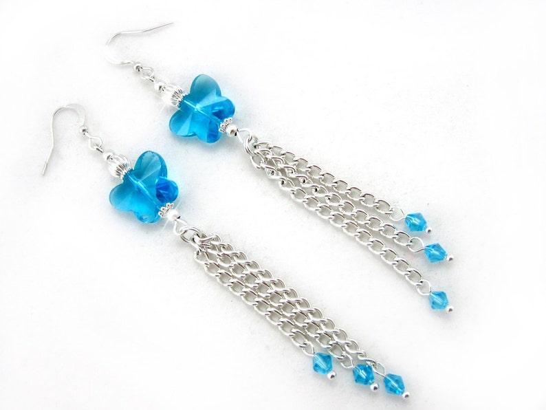 blue crystal long earrings December Birthstone earrings crystal butterflies wedding Jewelry tassel earrings Blue Butterfly Earrings