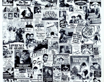 """Original 1981 16"""" x 20"""" Mint Condition RARE Poster.A collection of various US Newspaper Movie ads. Gone with the Wind, The Sting, Casablanca"""
