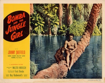 "Bomba and the Jungle Girl. 1953 11"" x 14"" US Lobby Card Movie Poster.FREE SHIPPING.Johnny Sheffield,Karen Sharp,Walter Sande,Suzette  Harbin"