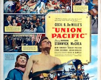 Union Pacific.1939 15.5x21 US RARE Newspaper Movie Advertisement. Barbara Stanwyck, Joel McCrea,Akim Tamiroff,Robert Preston