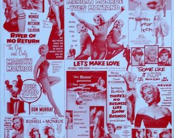 Original1980s 16x20 Mint ConditionRAREPoster.A collection ofMarilyn Monroe MovieUSNewspaper ads.The Misfits,Niagara,Gentlemen Prefer Blondes