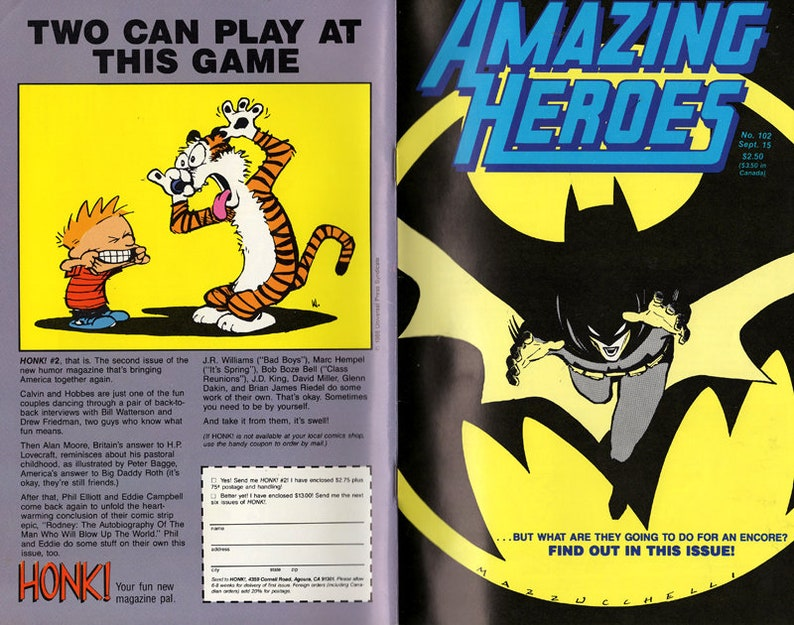 Amazing Heros #102 Sept  1989  FREE SHIPPING  Batman, Frank Miller, David  Mazzucchelli, The Riddler,Batwoman,Joker,Edgar Allan Poe,DC Comics