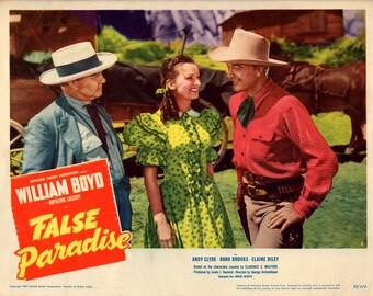 "False Paradise. 1948 11""x14"" US Lobby Card #6 Movie poster.FREE SHIPPING.William Boyd(Hopalong Cassidy),Andy Clyde,Rand Brooks,Elaine Riley"
