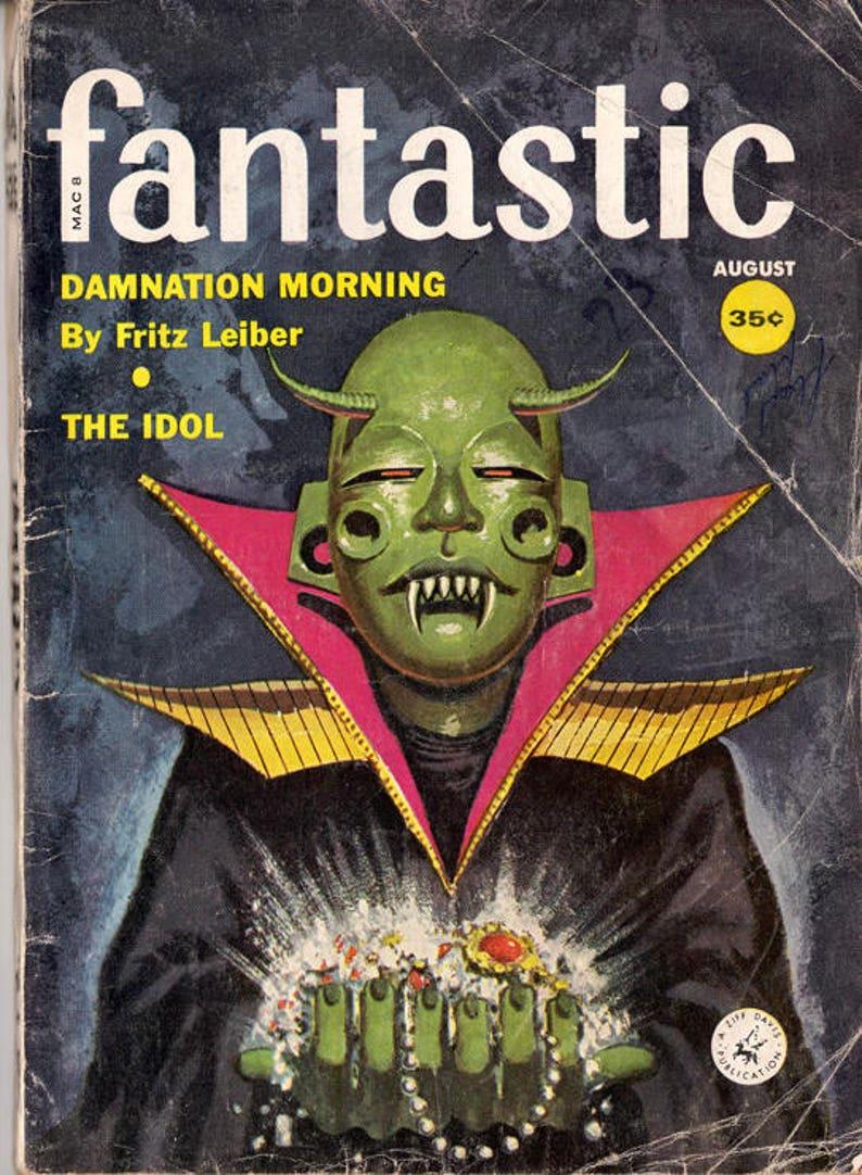 Fantastic  Pulp Digest Size Fantasy / Science Fiction Magazine  August 1959  Vol  8 No  8  Astounding Edward Valigursky Cover  Fritz Leiber