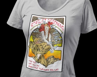 V Neck Scarlet Begonias Ladies Next Level T shirts - Mongo Arts lot shirt - Hippie Boho chic fashion - Shakedown Street Ladies hippie chic