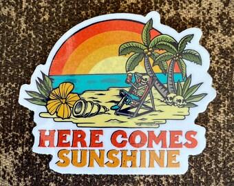 "Here Comes Sunshine - Vinyl Stickers - FREE Shipping - Limited Edition of 75 - Vinyl die cut slap 3"" x 2.5"" inch size -Weatherproof UV Vinyl"