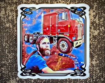 """Brent Mydland Tons of Steel sticker - FREE Shipping - Limited Edition of 50 - UV Vinyl die cut slap 3"""" x 3"""" inch size - Mongo Arts"""