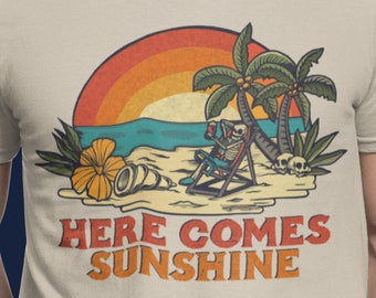 Here Comes Sunshine T shirt - Vintage Mongo Arts Wake of the flood tribute design - Men's Lyrical T shirt - Shakedown Street Shirt GDF NFA