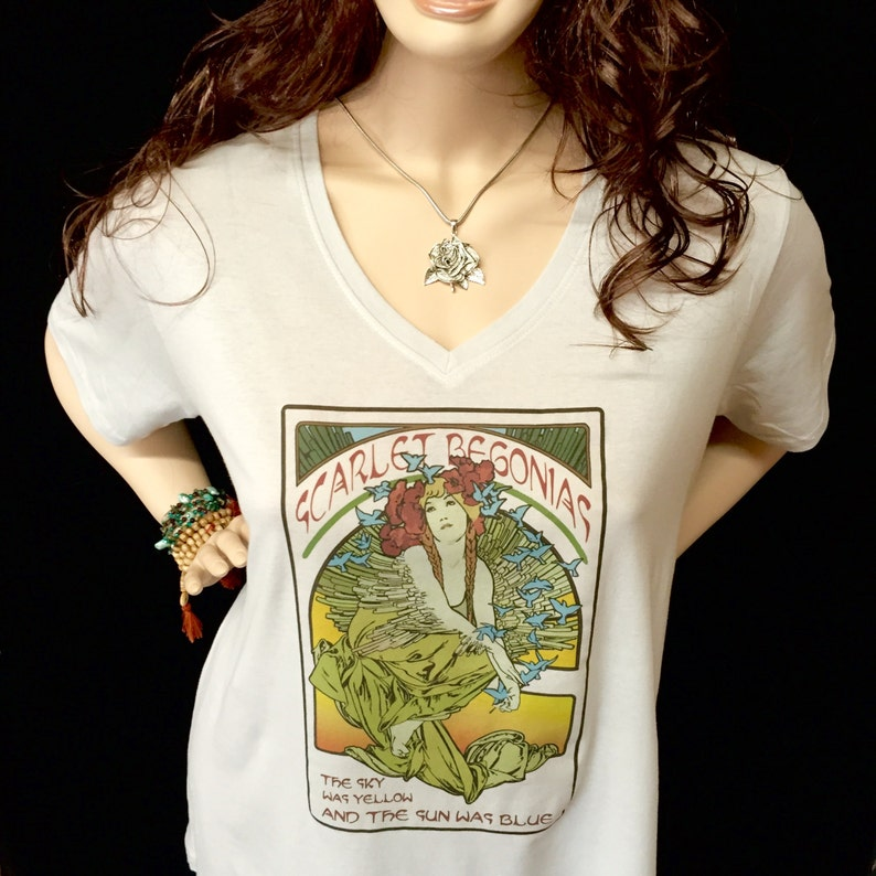 V Neck Scarlet Begonias Ladies Anvil T shirts  Dead  Mucha image 0