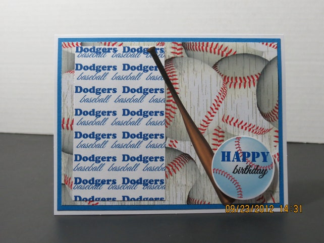 La Dodgers Baseball Birthday Card For Him